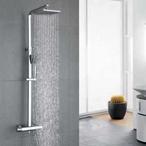 Duschsystem Thermostat Duscharmatur eckig Regendusche Duschset Dusche inkl. 3 Strahlarten Handbrause Duschkopf Duschstange Duschsäule für Badezimmer, chrom