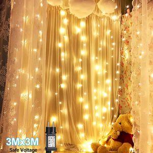 PMS LED Lichternetz Lichtervorhang Außen Garten Weihnachten Lichterkette Warmweiß 3m*3m