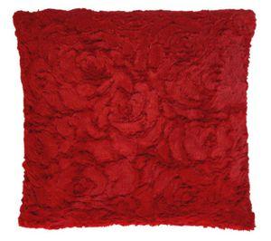 Kissenbezug 60x60 cm rot Rose Plüsch Kissenhülle Deko Couch Kissen