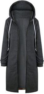 Herbst Winter Outing Stil Frauen Warm Reißverschluss Öffnen Clubbing Langen Mantel Jacke Tops Outwear Hoodie Outwear Kapuzenpullover S