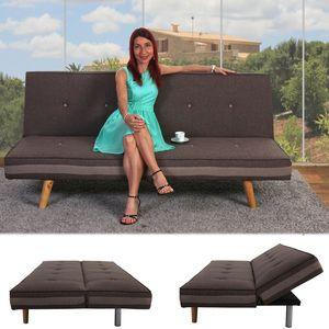 3er-Sofa Herstal, Couch Schlafsofa Gästebett Bettsofa  Textil, braun