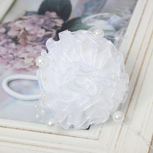 Mädchen Haargummi in der Farbe Weiß mit Perlen