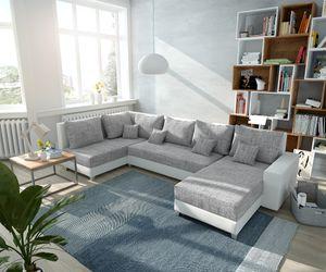 Couch Panama Hellgrau Weiss Ottomane links Longchair rechts Wohnlandschaft