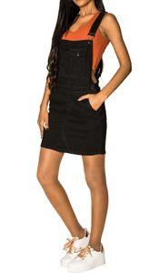 Damen Denim Jeans Latz Rock Basic Minirock Latzkleid Träger Jeansskirt Sommerkleid Jumpsuit, Farben:Schwarz, Größe:36