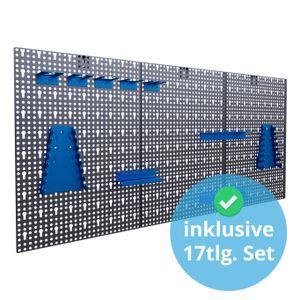 Werkzeuglochwand aus Metall mit 17tlg. Hakenset, ca. 120 x 60 x 1,5 cm, Werkzeug-wand Loch-wand für Werkstatt, Blau