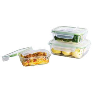 Glas Frischhaltedosen 3er Set Klick-It Gefrierdosen Lunchbox Brotdose Mikrowelle