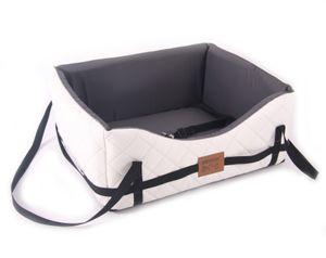 Hundeautositz Gestepptes Weiß M ( ca. 50 x 45 cm ) Kunst Leder Hundesitz Hundebett Autokörbchen Autositz Hundesofa Bett Mayaadi Home