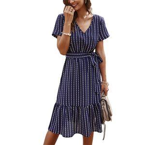 Einfaches Kurzarmkleid mit V-Ausschnitt für Damen Lässiges gestreiftes langes Kleid,Farbe: Dunkelblau,Größe:XL