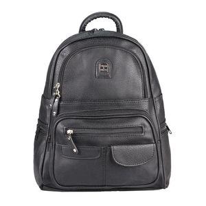 Damen Rucksack Tasche Backpack Tagesrucksack Leder Optik Cityrucksack Stadtrucksack Schultertasche Handtasche Shopper Daypack Schwarz