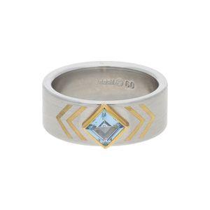 JuwelmaLux Ring 750/000 Gold und Edelstahl mit synth Aquamarin JL30-07-2933 58