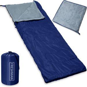 Deckenschlafsack Freshman Schlafsack 195x75cm Mumienschlafsack Zelt Camping, Farbe:Dunkelblau