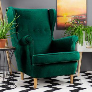 Selsey Sessel MALLMON - Ohrensessel mit Samtbezug in Grün und Holzbeinen Buche Natur, Sitzfläche 51 x 59 cm