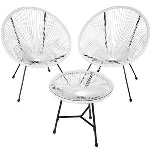 tectake 2 Gartenstühle Gabriella mit Tisch - weiß