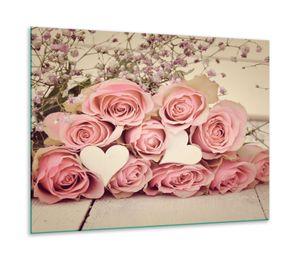 Herdabdeckplatte Ceran 1 teilig 60x52 Rose Pink Abdeckung Glas Spritzschutz Deko