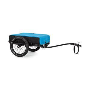 """Klarfit Companion Fahrradanhänger Lastenanhänger Handwagen  ,  Ladefläche: 42 x 63 cm (BxT) / ca. 50 Liter / 2 Getränkekästen  ,  40 kg Ladegewicht  ,  pulverbeschichteter Stahlrahmen  ,  16"""" Räder  ,  wasserfester Bezug und Abdeckung  ,  ausklappbarer Ständer  ,  Drehbare Deichsel: Handwagen oder Fahrradanhänger  ,  schwarz / blau"""
