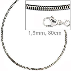 JOBO Schlangenkette 925 Sterling Silber 1,9 mm 80 cm Halskette Kette Karabiner