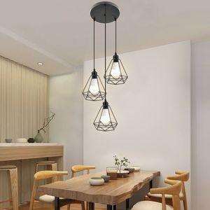 Pendelleuchte industrie Decke hängende Leuchte Kronleuchter E27 für Esstisch Esszimmerlampe Wohnzimmer,schwarz