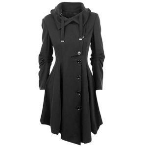 Frauen Kunstwolle Warme Slim Coat Jacke Dicker Parka Mantel Lange Winter Outwear Größe:5XL,Farbe:Schwarz