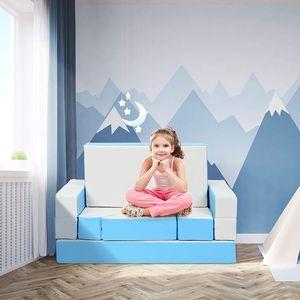 COSTWAY 4 in 1 Kindersofa & Kindertisch & Bett & Puzzle Matraze aus 8 Schaumstoffbausteine, Spielsofa, Kindersessel, Spielmatraze für Kinder im Vorschulalter, Babys und Schulkinder Blau