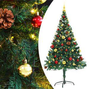 vidaXL Künstlicher Weihnachtsbaum Geschmückt Kugeln LEDs 150 cm Grün