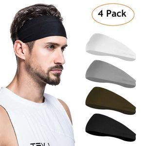 Sport Stirnbänder für Herren und Damen 4 Packs - Schweißband & Sport Stirnband Feuchtigkeitstransport Workout Schweißbänder für Laufen, Cross Training, Yoga und Fahrradhelm
