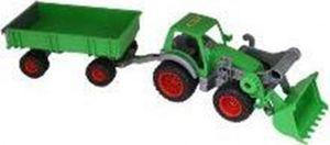WADER Farmer Technic Traktor mit Frontlader und 2-Achs-Anhänger grün