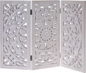 Holzornament weiß 60x45 cm shabby Landhaus Mandala Holz Holzbild eckig Ornament