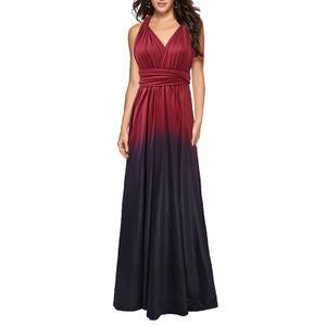 Frauen Cabrio Kleider Maxi Kleid Multi Way Ombre Abend Flowy Brautjungfer Party Cocktail Neujahr Formal Long Dress[weinrot-XL]