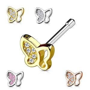 """Nasenstecker """"Schmetterling"""": Nasenpiercing Stecker mit Zirkonia, Farbe:Silber"""