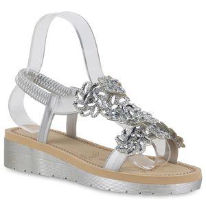 Mytrendshoe Damen Sandaletten Keilsandaletten Strass Blumen Keilabsatz Schuhe 834793, Farbe: Silber, Größe: 37