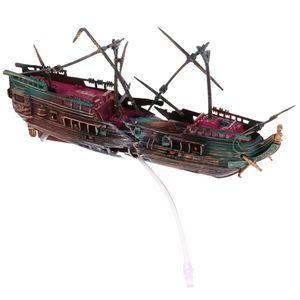 Neue Aquarium Ornament Segelboot Schiff Wrack Aquarium Höhle Home Decoration # 2 wie beschrieben