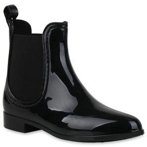Mytrendshoe Damen Stiefeletten Gummistiefel Regenstiefel Rain Boots 821555, Farbe: Schwarz, Größe: 38