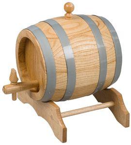 Hofmeister Holzwaren FASS, unlackiert, 10 Liter, inkl. Stopfen, Hahn und Bock aus Eichenholz L345xB275xH325 mm, 20875