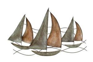 Wanddeko Schiff Segelboot Metall Segel Boot Maritim Deko Hänger Skulptur Figur