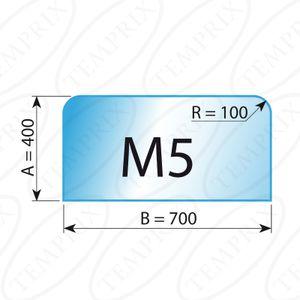 Kaminbodenplatte Transparent Form M5  400 x 700 x 6mm - Version ECO (Tragkraft bis 550 Kg)