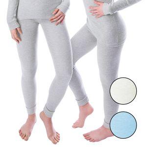 Damen Thermo Unterhosen Set | 2 lange Unterhosen | Funktionsunterhosen | Thermounterhosen 2er Pack - Grau - M