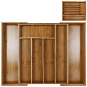 Besteckkasten aus Bambusholz ausziehbar -  Besteckeinsatz - Schubladeneinsatz