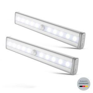 LED Schrankbeleuchtung Bewegungsmelder Schranklicht Wandlicht inkl. LED-Platine Nachtlicht Batterie betrieben Bewegungssensor 2er Set B.K.Licht