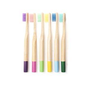 6 Stueck Manuelle Zahnbuersten Set Mundpflege Bambus Zahnbuerste mit dichten Borsten fuer Kinder Daily & Travel,Multicolor