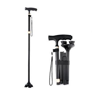 Höhenverstellbare klappbarer Gehstock mit LED-Licht für Ältere Menschen , Anti-Rutsch-verstellbarer Gehstock,Zusammenklappbar und Tragbar(schwarz)