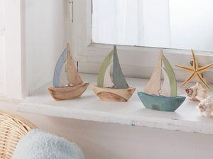 Segelboot AHOI im 3er Set, Maße 10 x 12 cm