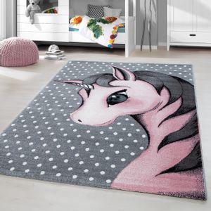 Kurzflor Kinderteppich Einhorn Baby Kinderzimmer Babyzimmer Teppich Grau Pink, Grösse:160x230 cm