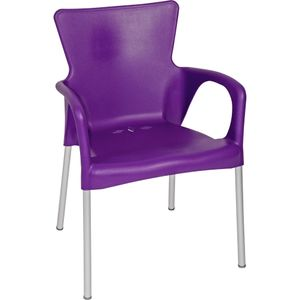 Stuhl Stapelstuhl Gartenstuhl 4er Set violett Kunststoff stapelbar 85 cm