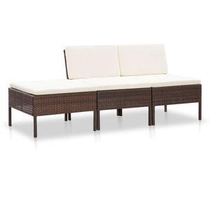 3-tlg. Garten-Lounge-Set mit Auflagen Poly Rattan Braun