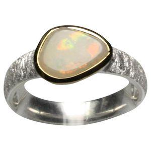 Feiner 925 Silberring mit schimmerndem Opal, Größe:Größe 55 (17.5 mm)