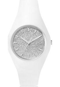 Ice-Watch ICE GLITTER White Silver Unisex Uhr Damenuhr Kautschuk weiß