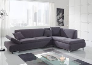Max Winzer Terrence Sofa 2,5-Sitzer links mit Ecksofa rechts - Farbe: grau - Maße: 270 cm x 190 cm x 76 cm; 2920-263-1643716-MET