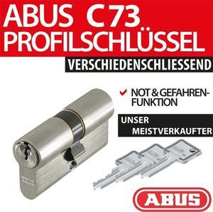 ABUS Profilzylinder Zylinder Türzylinder C73 N+G verschiedenschliessend inkl. 3 Schlüssel, Länge:30/65