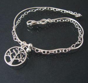 Armkette 925 Silber 2-lagig Schlangenkette Lebensbaum 19cm 15124-19
