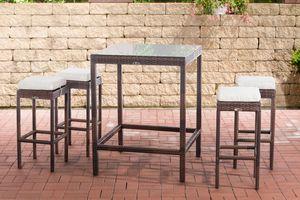 CLP Gartenbar Alia mit Tisch und 4 Barhockern, Farbe:braun-meliert, Polsterfarbe:Cremeweiß